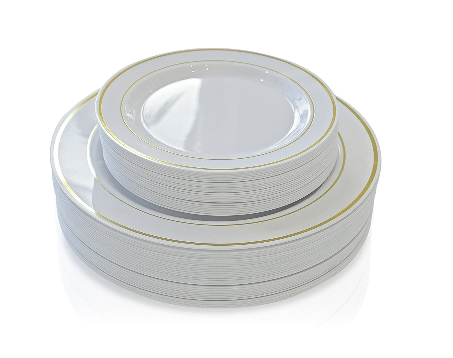 White Plastic Plates With Gold Rim To Taste Themes